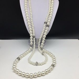 Chico's Faux Pearl Beaded Crystal Necklace